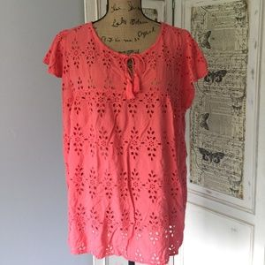 Old Navy Coral Eyelet Lace Top Sz XL